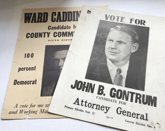 Lot of Two Vintage Political Cardboard Campaign Signs Local MD Election