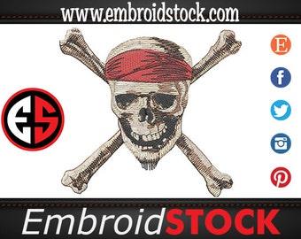 Pirate Skull Machine Embroidery Design
