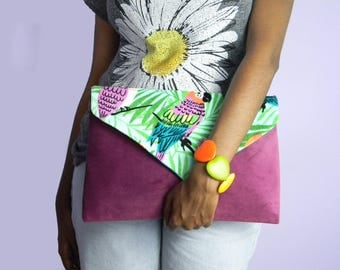 Tropical Parrot Orchid Suede Envelope Clutch Bag