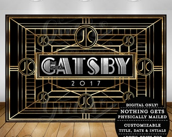 Great Gatsby Backdrop theme party banner signs, backdrops, step and repeat 1920s party.