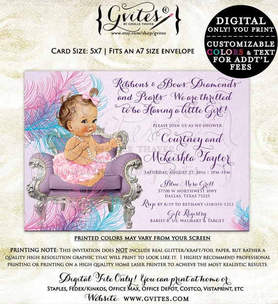 Baby shower baby girl, vintage baby printable invitation, ribbons bows diamonds pearls, lavender purple pink shower invitations. {You Print}