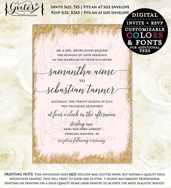 Rose gold wedding invitation, rose gold wedding printable, wedding invitations rose gold, digital rose gold invites, customizable.