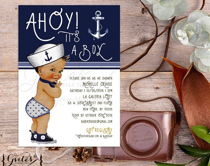 Little sailor baby shower printable invitations, African American baby boy baby shower invitation, nautical blue, ethnic baby. {You Print}