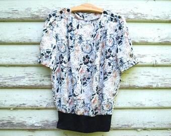 80s Vintage Blouse Avant Garde Floral Graffiti Splat Print Top Vtg 1980s Tee Shirt Size M-L