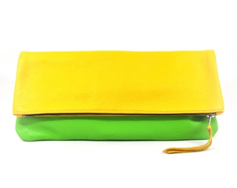 Leather Foldover Clutch/Pouch/Cosmetics Bag in Yellow & Green; Genuine Full Grain Leather; Unlined; Color Block Clutch