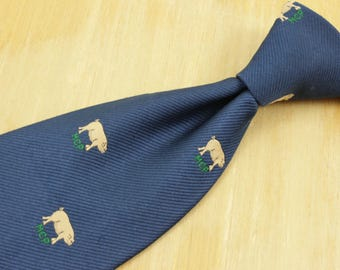 Vintage MCP Male Chauvinist Pig Novelty Tie Navy w Embroidered Pigs Twill BLANFORD Crested Club Pictogram Hidden Message