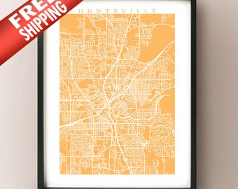 Huntsville Map Print - Alabama Poster