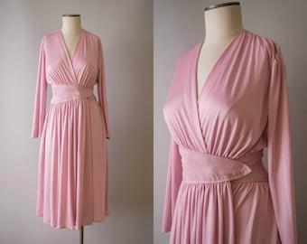 vintage 1970s dress / 70s ballet pink jersey disco dress / small