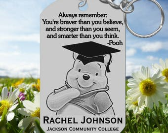 Winnie the Pooh Graduation Keychain Gift, Engraved and Personalized Free! Cute Pooh with Grad Cap