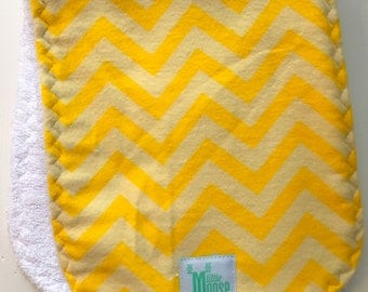 Burp Cloth - Chevron - Yellow - Flannel and Terry Cloth - Thick and Absorbant