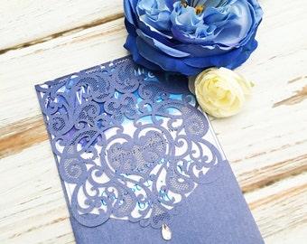 Laser Cut Pocket Wedding Invitation Enclosure, Wedding invitation, Rustic Wedding Invitation, Bridal Shower Invitation, Lasercut Invitations