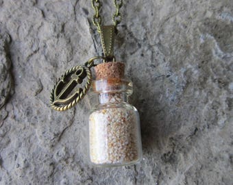 Pink Bermuda Beach Sand in a Pretty Glass Bottle with Real Cork Necklace - St. Catherine's Beach - Bermuda Sand