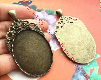 Wholesale 20pcs  antiqued  bronze  60x33mm oval bezel trays(cabochon size is 40x30mm) setting  pendant findings