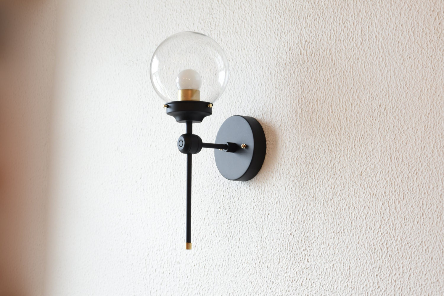 Free shipping single light wall sconce black and gold brass globe single light wall sconce black and gold brass globe modern abstract mid century industrial vanity light bathroom ul listed mozeypictures Choice Image