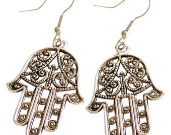 Sterling Silver Hamsa Filigree Dangle Earrings