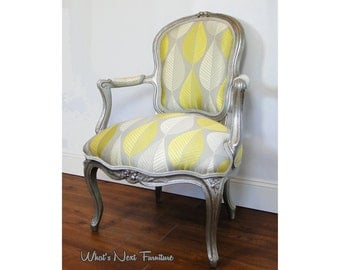 Silver Chair, Yellow Grey Accent Louis Antique Vintage Upholstered Painted French Fauteuil