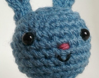 Blue Crocheted Amigurumi Bunny in a Bed, Crocheted Rabbit Soft Toy, Gift Boxed