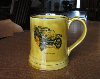 Vintage Wade Antique Car Mug, Automobile Stein, 1903 Lanchester, Gold Veteran Cars Series 3, Auto,Wade England Stein,Mug,Moko,Wade Porcelain