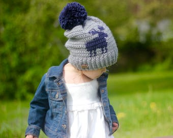 Moose Hat, Deer Hat,Kids Hat, Slouchy Hat, Hat with Pompom, Boys Hat, Girls Hat, Winter Hat, Woodland Hat, Antler Hat, Women's Hat, Mens Hat