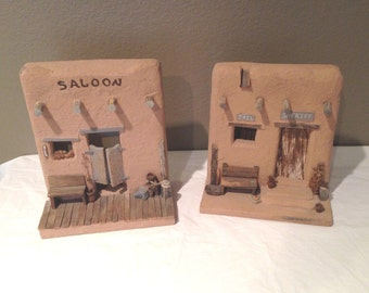 Vtg Desert Adobe Buildings-Mantle/Home Decor-Sheriff/Jail by Alex Gomez