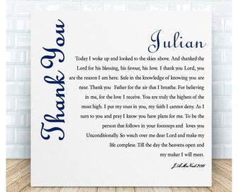 Thank You Prayer Ceramic  Plaque. Personalised Gifts
