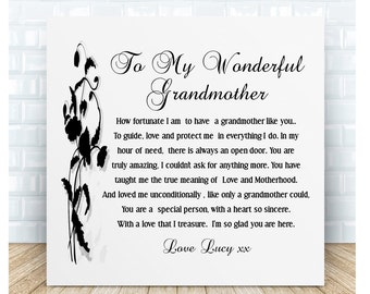 Grandmother Poem Ceramic Plaque. Nan Thank You Gift. Personalised. Birthday, Christmas, Mother's Day, Special Occasion