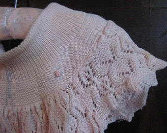Very sweet Cotton Crochet lace Baby's little girls dress by MERITAS pink rose buds Retro 1980s size 1