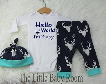 Baby Boy Coming Home Outfit,Hello World Newborn,Go Home,Personalize Onesie,Hospital Set,Leggings Hat,Baby Boy Gift,Buck,Newborn,Deer,Navy