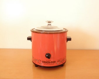 70's Orange Red Crock Pot- Rival- 3.5 QT Slow Cooker, Electric, Stoneware Crock Pot with Glass Lid- Working!