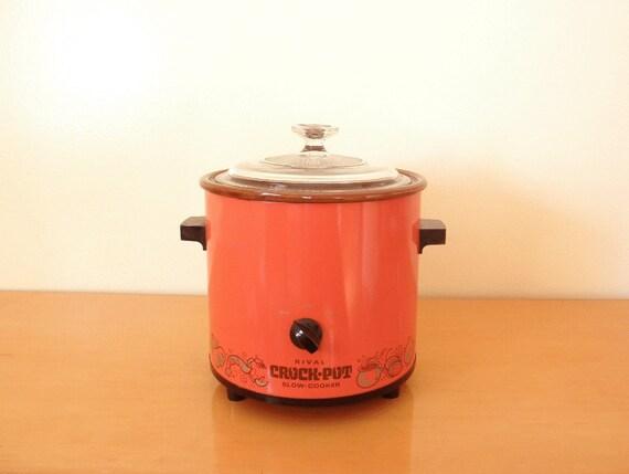 70 39 s orange red crock pot rival 3 5 qt slow cooker. Black Bedroom Furniture Sets. Home Design Ideas