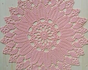 Pink cotton doily, 45 cm