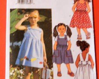 Butterick 3410 Easy to sew girls back wrap summer dress pattern with fun fish appliques Uncut Sizes 6, 7 and 8