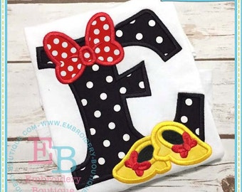 Personalized Initial with Bow and Shoes Applique Shirt or Onesie Boy