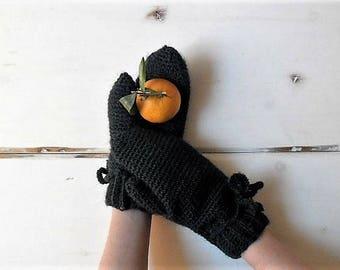 Crochet mittens, forest green mittens, winter accessories