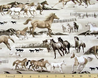 Horse Fabric Best of the West Cream From Kanvas 100% Cotton