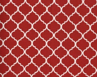 Mini Quatrefoil Fabric White on Red Tomato 100% Cotton