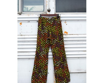 1970s Psychedelic Flared Pants - Retro Vintage Floral