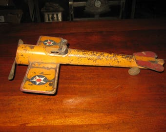 Antique Pressed Steel Schieble Hillclimber Airplane with Original Tin Pilot 14 Inches Long All Original Circa 1910-1920 Friction Flywheel