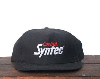 Vintage Castrol Syntec Motor Oil Racing Cars Trucker Hat Snapback Baseball Cap