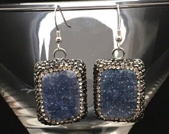 Druzy Earrings, Denim Blue Druzy Earrings, Pave Swarovski Crystal Earrings, Statement Earrings, Silver Earrings, Earrings under 100