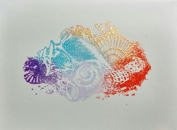 "Embossed Greeting Card | Seashells | Beach | Seashore | 4""x6"" Greeting Card | Pink Purple Blue Orange Gold | Blank or Personalized"