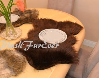 Fake Fur PLACEMATS or Centerpieces Plush Faux Fur Table Mats Wedding Gifts House Warming Party Dining Plate Mats Wedding Reception Decor