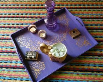 Handmade wooden serving platter, tray