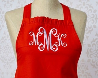 Monogram Kitchen Apron, Red Apron, Ruffle Apron, Bridesmaid Gift, Hostess Gift, Bakers Apron