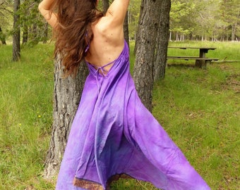 Dress long d been ethnic, backless, purple cotton