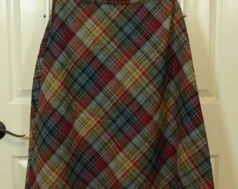 Nordstrom A-Line Plaid Skirt 70s Back to School Classic Wool Blend Fall Colors Secretary Skirt