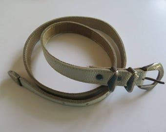 White Leather Belt//Vintage Leather Belt//Cowgirl Belt