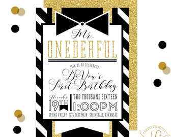 Mr. Onederful Invitation | Mr. Onederful Birthday Party | First Birthday Invitation | Boy First Birthday Party | Printable Invitation