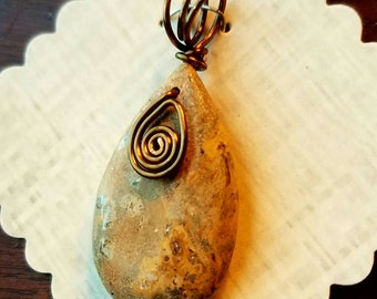 Stone Teardrop Pendant, stone and wire necklace,  brown wire