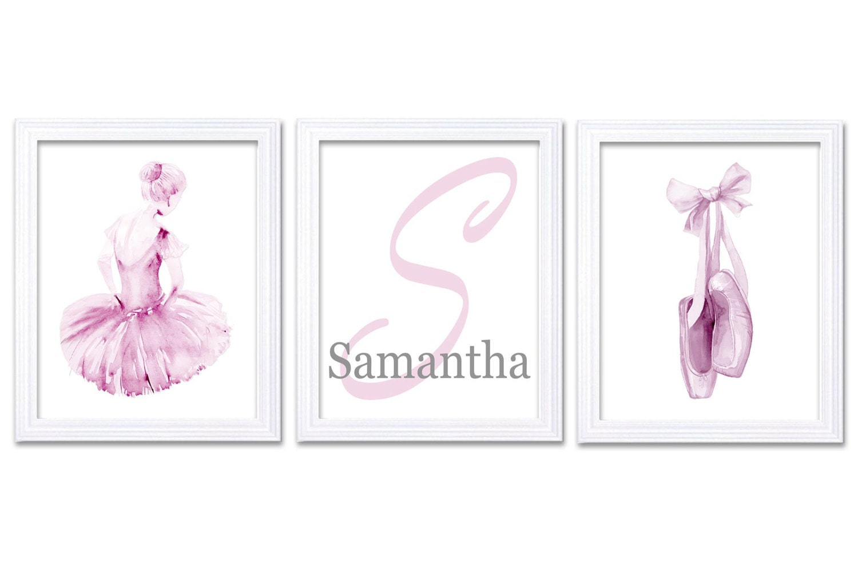 Watercolor Ballerina Nursery Decor Nursery Wall Art Set of 3 Prints Poster Light Pink Letter Persona